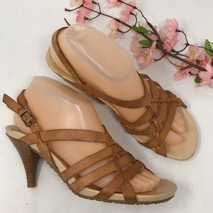 BCBGirls Brown Leather Open Toe Sandals Size 7.5 B